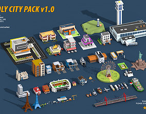 3D asset low-poly Low Poly City Pack
