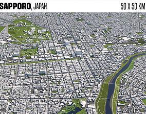 3D model Sapporo Japan 50x50km