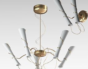 3D White And Gold Pendant Lamp 1