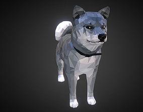 3D asset Dog Grey Low Polygon Art