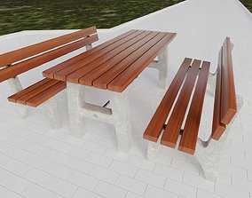 Street Furniture - Bench and Table 3D