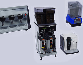 3D model Low Poly Coffee Machines