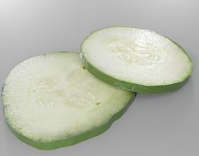 2 variation of a cucumber slice PBR 3D asset