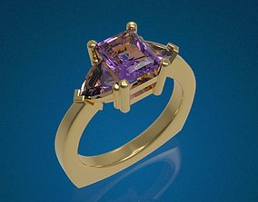 3D printable model Three Gemstone Ring - Free Demo