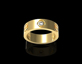 3D printable model Cartiero ring 3 Diamond