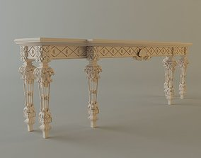 3D model White Baroque Console Table