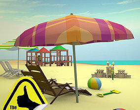 Complete Cartoon Beach Scene 3D