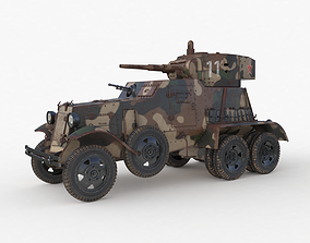 BA 6 Armored Car Camouflage Vray 3D model