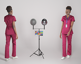 Young african woman in surgical uniform walking 3D model 1