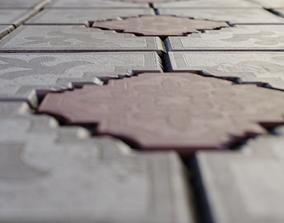 Paving tiles and 4K PBR seamless material 3D asset