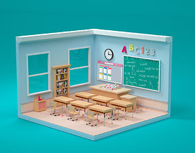 Scene of back-to-school teachers 3D model