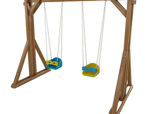 3D asset Wooden Playground Swing For Kid and Games model