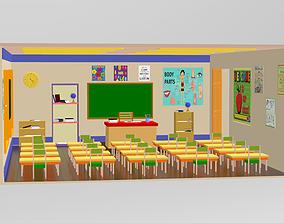 3D model Cartoon Classroom Interior