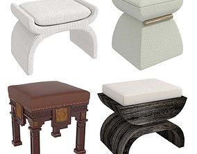 Four pouf stool 3D