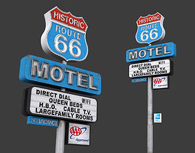 Historic Route 66 Motel Sign 3D model