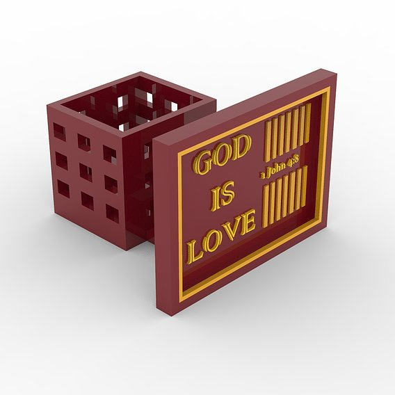 God Is Love Desk Photoframe with Pen holder