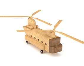 3D model Wooden toy helicopter 02