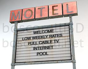 3D model Old Motel Sign Standing Horizontal v2