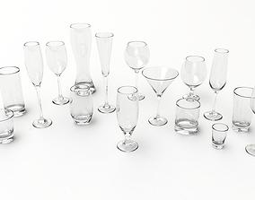 furniture Glasses Set 3D model
