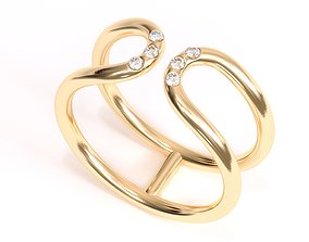 3D print model Double Band With Diamonds