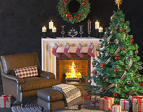 3D model Christmas and New Year set