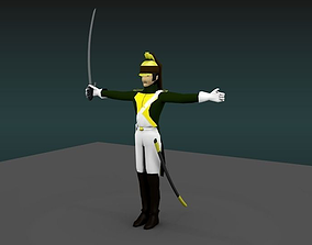 Dragoon heavy cavalery napoleon 3D model rigged
