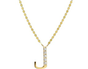 diamond 3D print model Alphabets Letter J Pendant