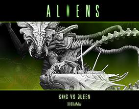 3D model King alien vs Queen Diorama statue