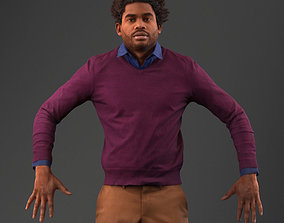 rigged Rigged south American 3d man in casual clothing