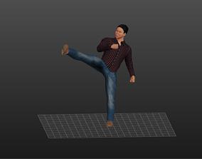 Asian Fighter man 3D asset
