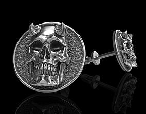 3D print model skull earrings studs printable
