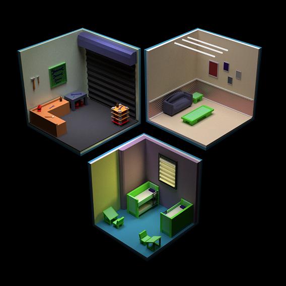 rooms in isometric city