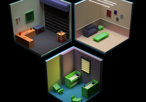 rooms in isometric city