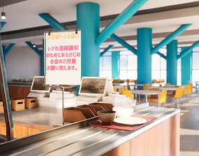 3D model Japanese University and School Cafeteria