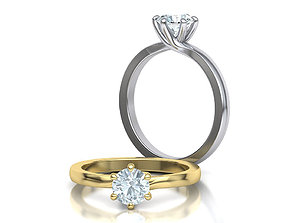 Six Twisted prongs Engagement ring 3dmodel version3