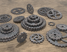 Low poly cogwheel gear set 3D model