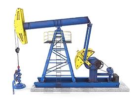 Oil Pumpjack Animated 1 3D model