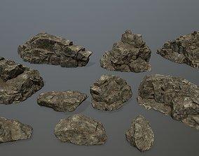 plant 3D asset VR / AR ready rocks