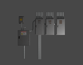 rusty decaying electrical box 3D model