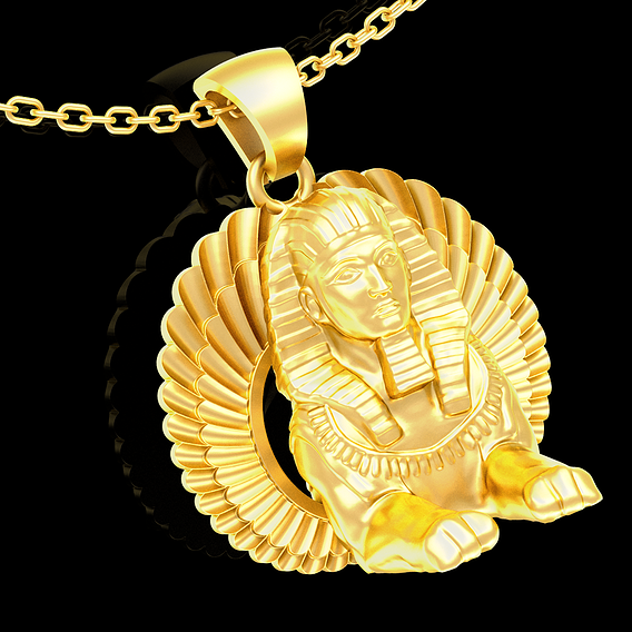 sphinx Wing Sculpture pendant jewelry gold necklace medallion 3D print model