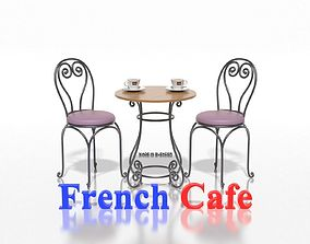 French Sidewalk Cafe Table with Chairs 3D model