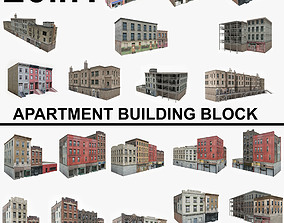 20 Apartment Building Block Collection 1 3D asset