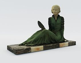 3D printable model Art Deco sculpture of lady with fan - 1
