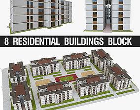 3D asset Apartment Block
