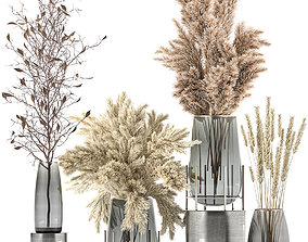 Bouquet of dried flowers in a vase 103 3D