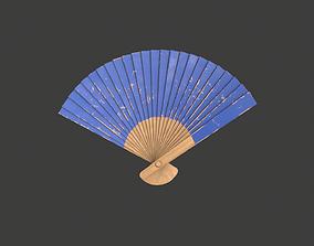 Blue Wooden Handheld Fan 3D asset