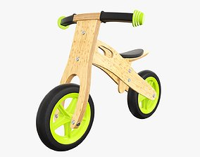 Balance bike for kids wooden v2 3D