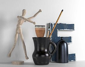 3D model Wooden Mannequin Brushes in Pitcher and Bottle