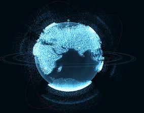 Animated Hologram Planet Earth v3 3D model futuristic
