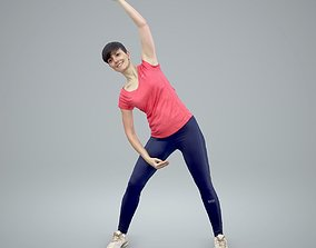Sporty Woman Exercising with Pink T-shirt 3D 1